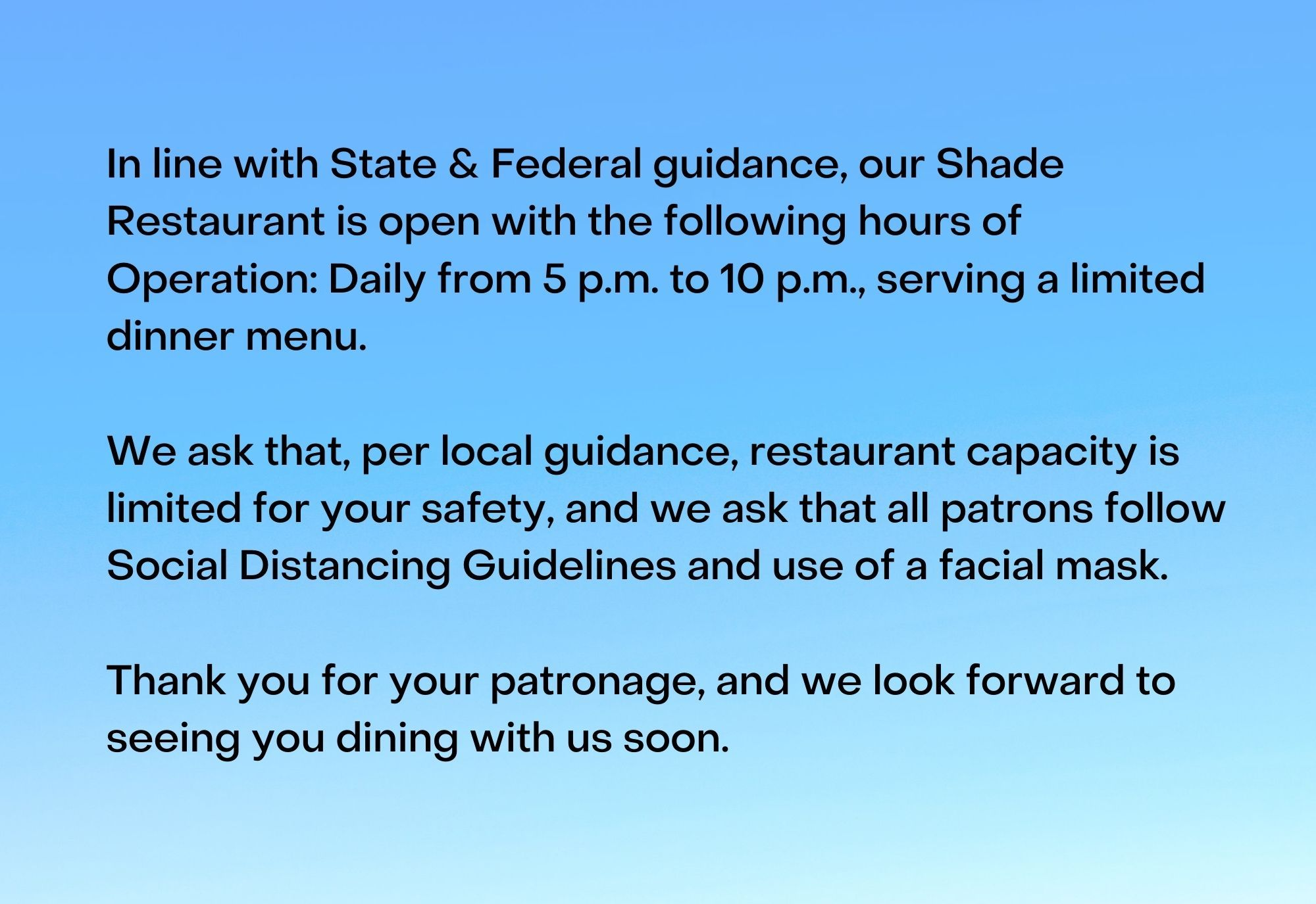 Shade Bar and Grill Coronavirus Statement